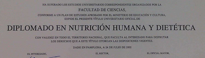 título dietista nutricionista